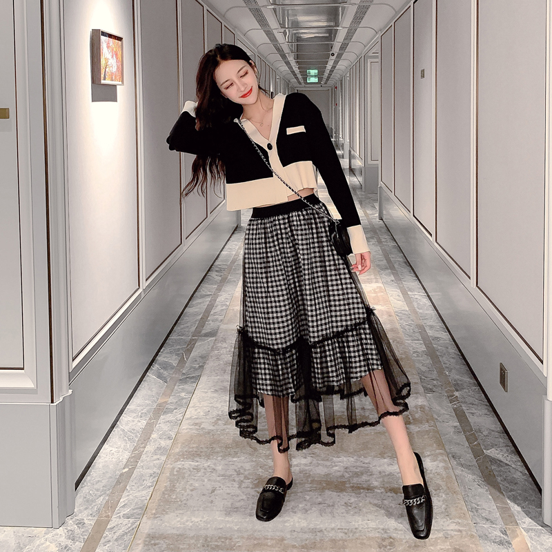 Autumn Winter Plaid Mesh Skirts Women Elegant Elastic High Waist Long Tulle Skirt Female Korean A-Line Vintage Midi Skirt