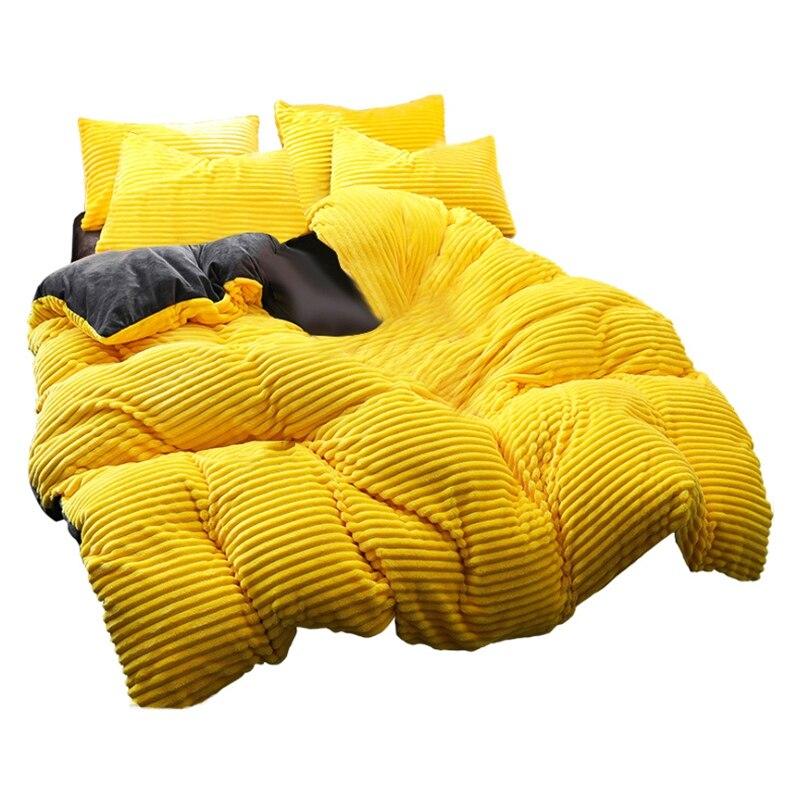 Funda de edredón de Navidad única, gruesa lana de Coral de cuatro piezas de lana de invierno de franela de cristal cama de edredón mágico sábanas