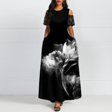 Cold Shoulder Floral Printed Ankle-Length Maxi Dress Women 2019 Fashion Long Black Dresses Elegant Retro Party Lady Vestidos