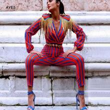 Red And Blue Striped Jumpsuit Tassel Slim Military Style Long Sleeve Women Streetwear Fashion Rompers Overall