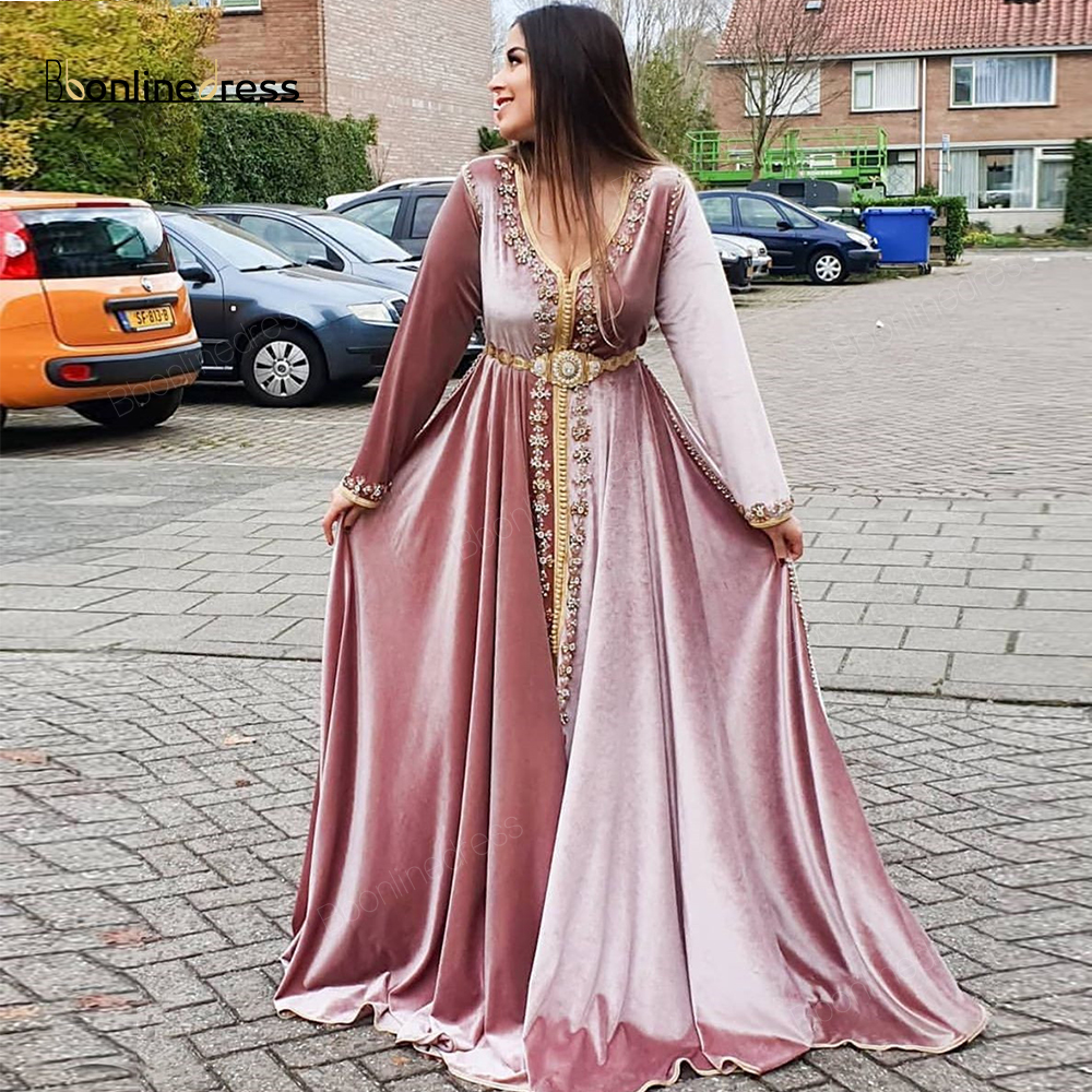 Bbonlinedress Moroccan Kaftan Evening Dresses Appliques Beaded Long Evening Dress Full Sleeve Arabic Muslim Party-Dress