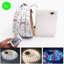 3AA moc baterii 50CM 1M 2M 3M 4M 5M taśmy LED SMD 2835 zimny biały ciepły biały taśma LED RGB na dekoracje dla domu DIY