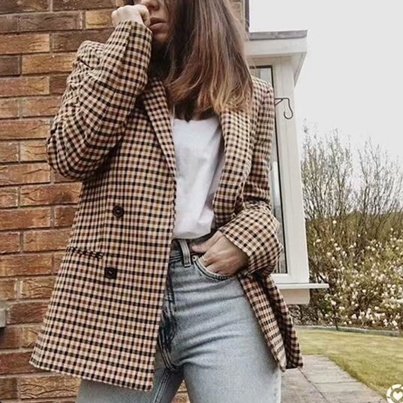 2020 Blazer For Women Plaid Slim Cardigan Suit Commuter Double Breasted Long Sleeve Blazer New