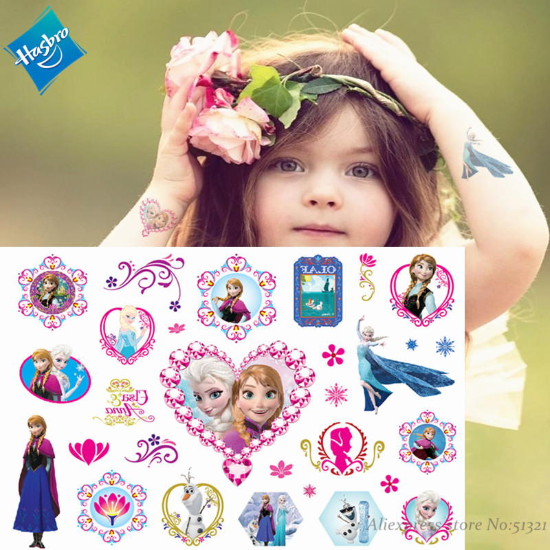Hasbro Froze Elsa Cute Cartoon Temporary Tattoo Sticker For Children Toys Tatoo Paper Paste Waterproof Flash Kids Girl Gift