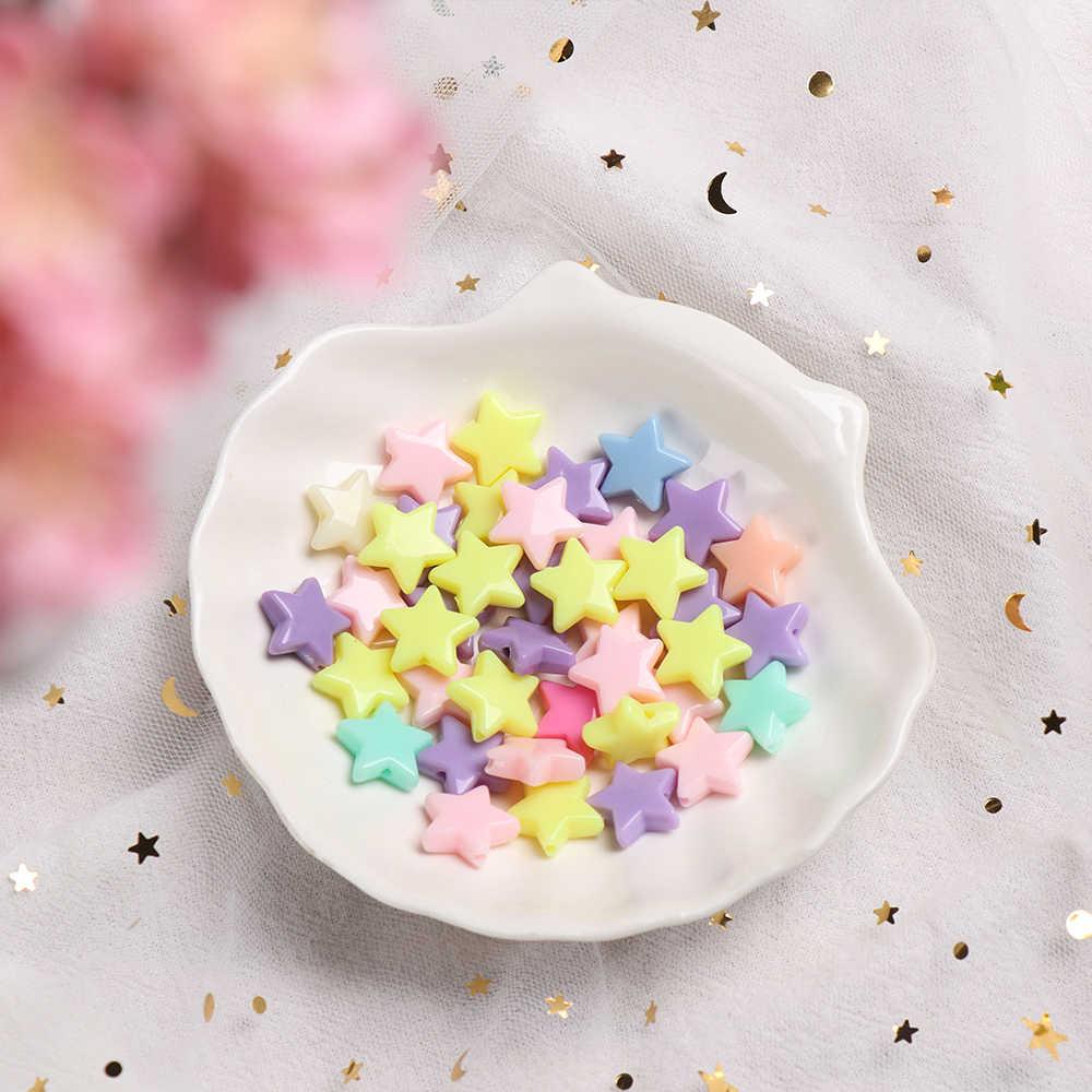 10 Uds. 9/13mm cuentas de dentición en forma de estrella accesorios de mordedor de colores acrílico DIY para bebé chupete collar de cadena Molar juguete