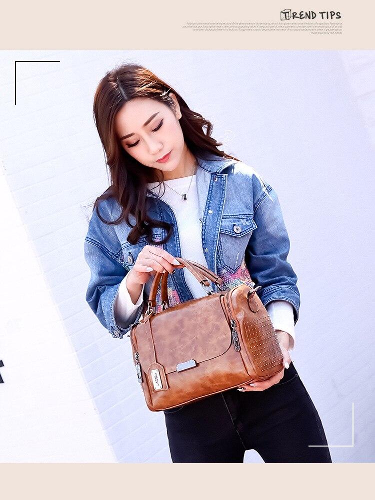 vintage cera couro bolsa de mão com