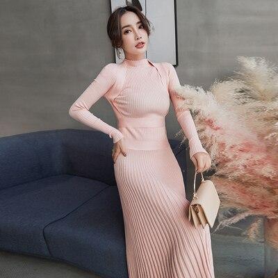 Femmes mince longue Maxi tricot robe pull automne hiver à manches longues plissée robe a-ligne grande balançoire dames pull robes - 6