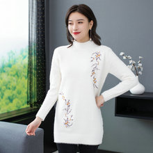 Winter Autumn Women Imitated Mink Wool Pullovers Sweaters Flower Embroidery Half Collar Warm Soft Knitted Tops Blue White Black