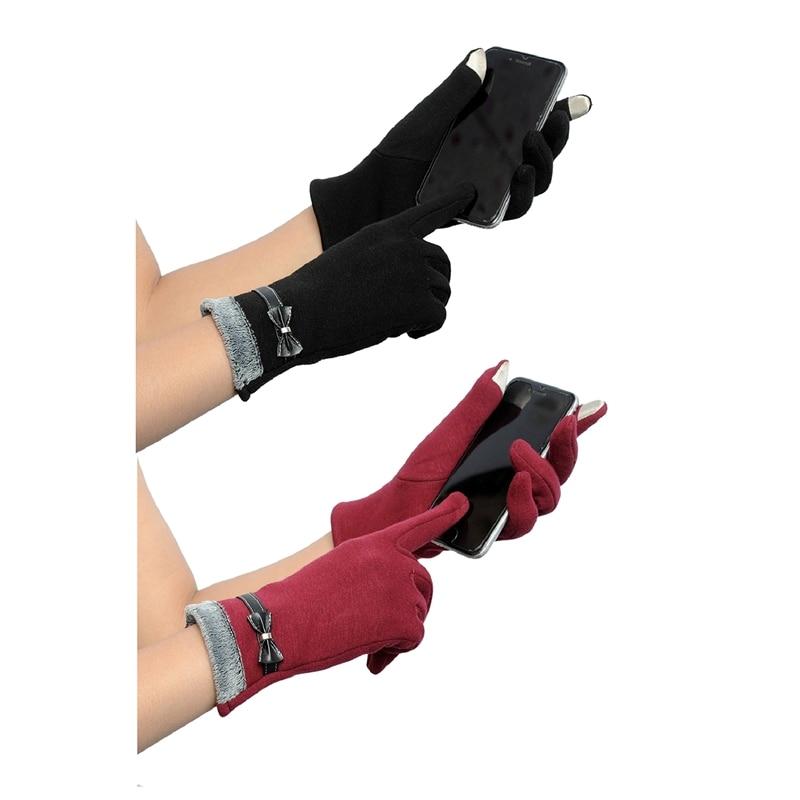 2 Pair Press Gloves Winter Warm Gloves Mittens For Press Screen (Red&Black)