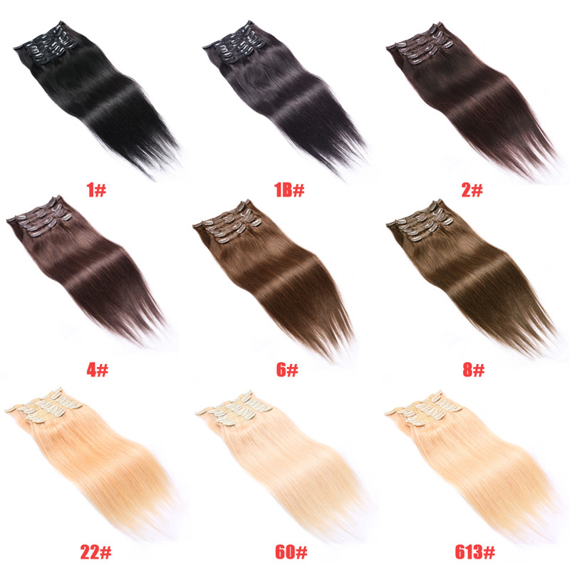 16-20inches Straight Clip In Human Hair Extensions 7pieces/set 70g Clip In Full Head Hair Remy Hair