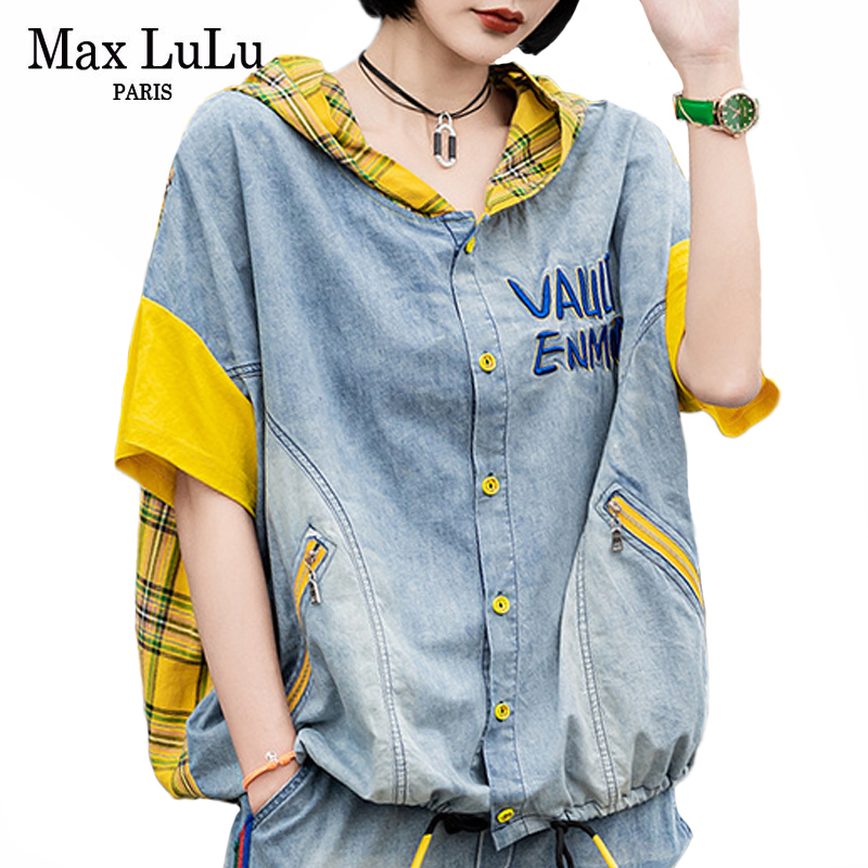 Max LuLu 2020 Korean Fashion Summer Clothes Ladies Vintage Patchwork Jackets Womens Casual Plaid Coats Female Hooded Streetwear