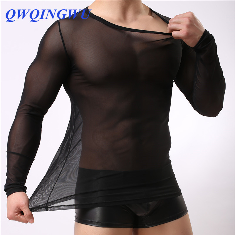 Man Ice Silk Tight Undershirts <font><b>Mens</b></font> O-neck Slim Thin Underwear Gay Nylon <font><b>Mesh</b></font> See Through Sheer <font><b>Long</b></font> Sleeves T <font><b>Shirts</b></font> Inner Tops image
