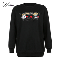 Weekeep Fleece Autumn Winter Streetwear Sweatshirt Oversized Long Sleeve Women Casual Pullover Clothes Embroidery Letter Top 90s