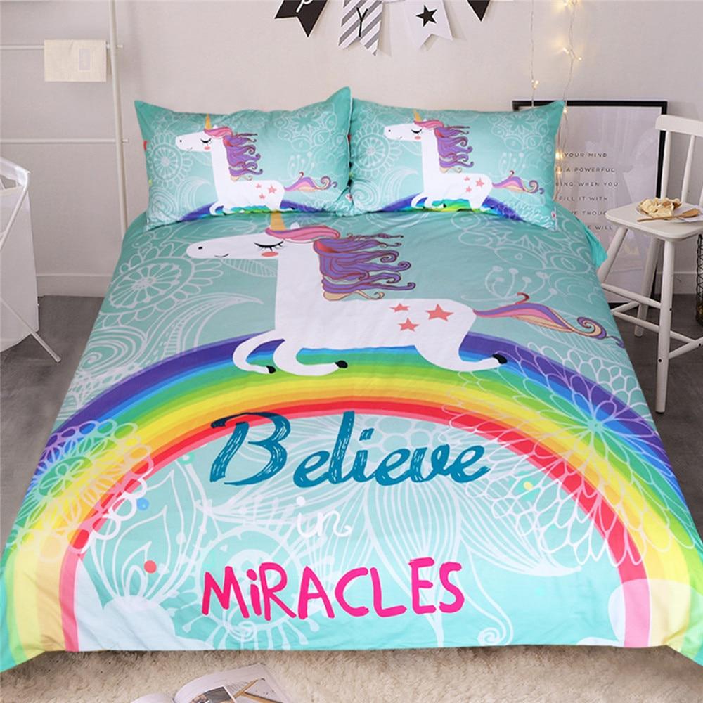 3D Unicorn Printed Bedding Sets Blue Background Unicorn And Rainbow Printing Dreamy Comfortable  Bedding Sets 2/3 Pcs
