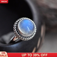 Handmade 925 solid silver natural moonstone ring blue round vintage hemp pattern woman's ring