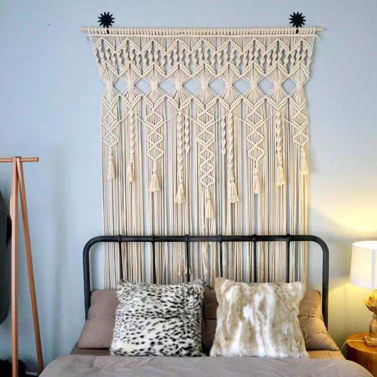 100% coton bohème tapisserie tissé à la main mur tapisserie rideau en plein air mariage décoration maison séjour hôtel tenture décor - 5