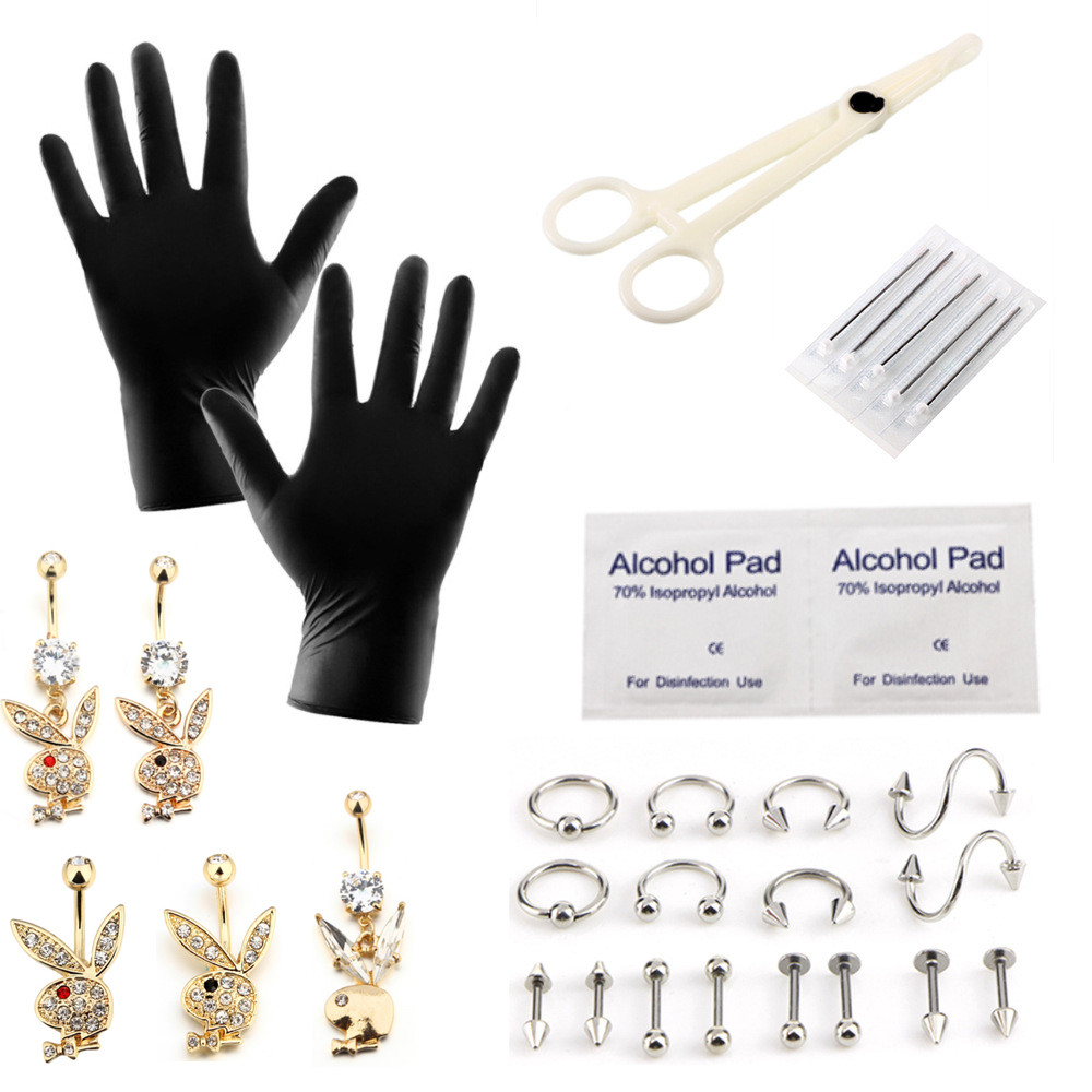 27Piece Disposable Piercing Kit Rabbit Belly Piercing Maker With Sterile Needle Machine Gloves For Nose Ear Lip Pircing Tool Set