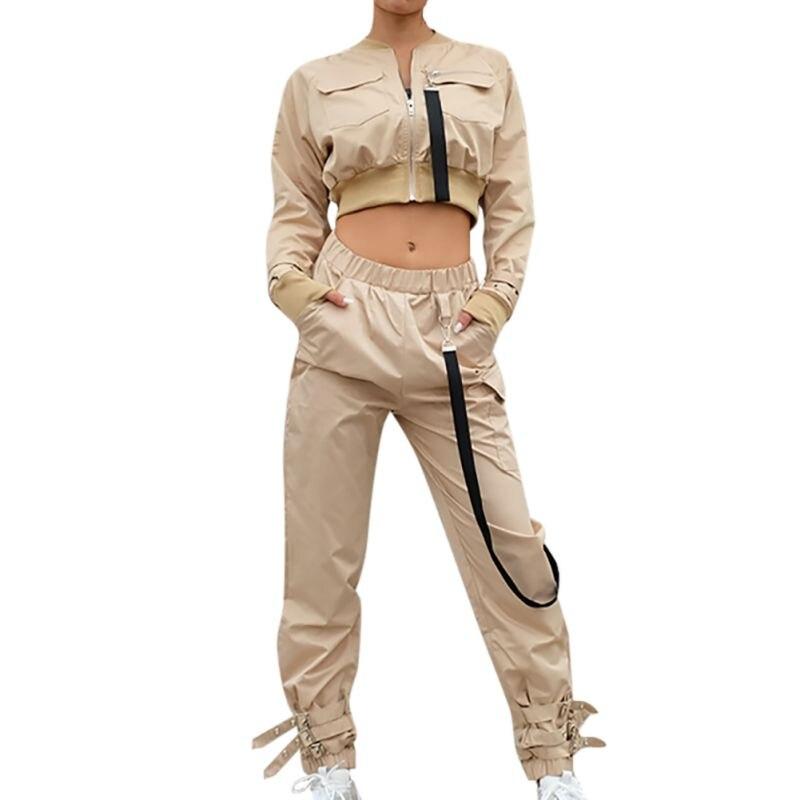 Women's Outerwear Set Crop Bomber Jacket Women Patch Long Sleeve Autumn Jacket Female Pocket Pin Buckle Zipper Streetwear Jacket