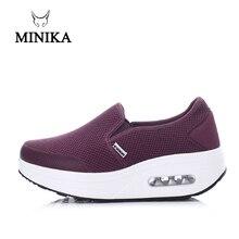 Minika/фиолетовая женская обувь без шнуровки; прогулочная обувь; кроссовки для похудения; кроссовки на танкетке; обувь для танцев; обувь для фитнеса
