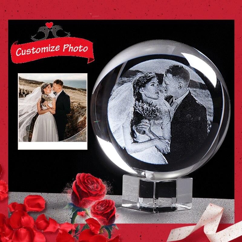 Presente personalizado personalizado de vidro foto bola laser gravado unicórnio presentes presentes para presentes de lembrança de casamento para festa favores