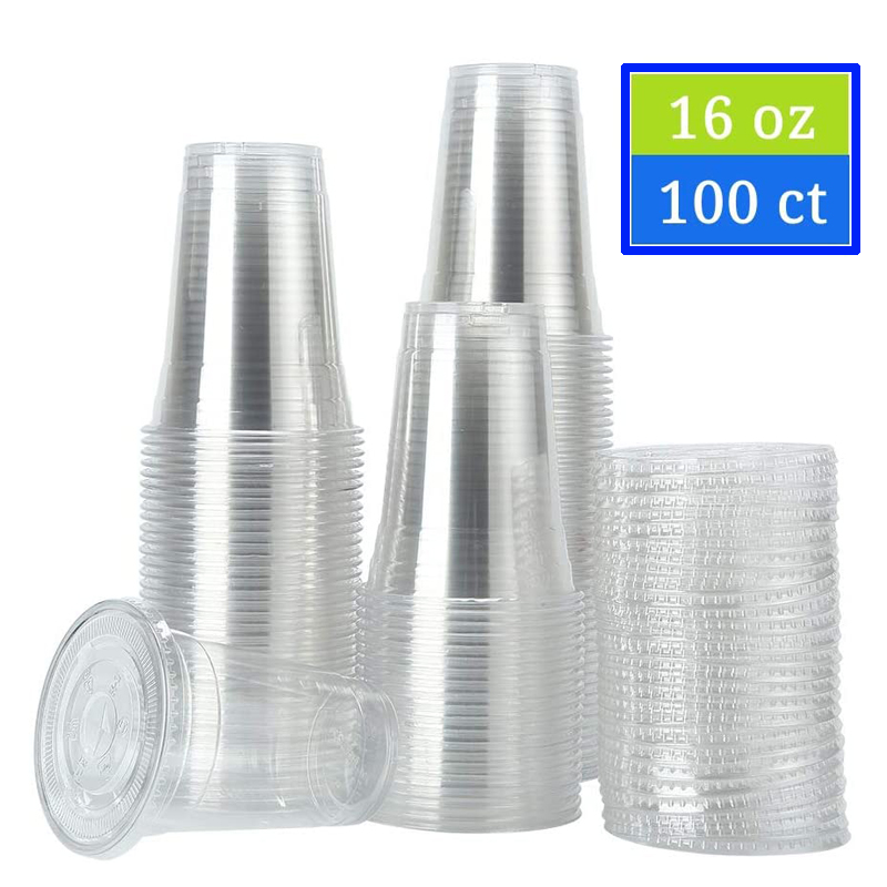 100 Sets 450ml (16 Oz) Clear Plastic Cups With Flat Lids Disposable Party Drinks,Clear Crystal