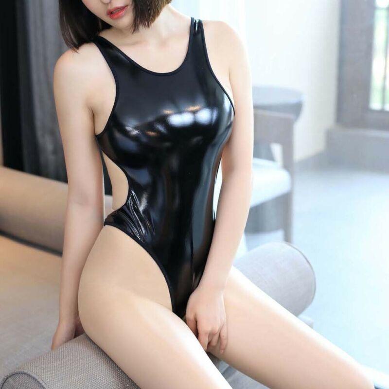 Womens Sexy Sleeveless Backless PU Leather Latex Bandage Bodysuit Erotic Sex Costumes Nightwear High Cut Clubwear