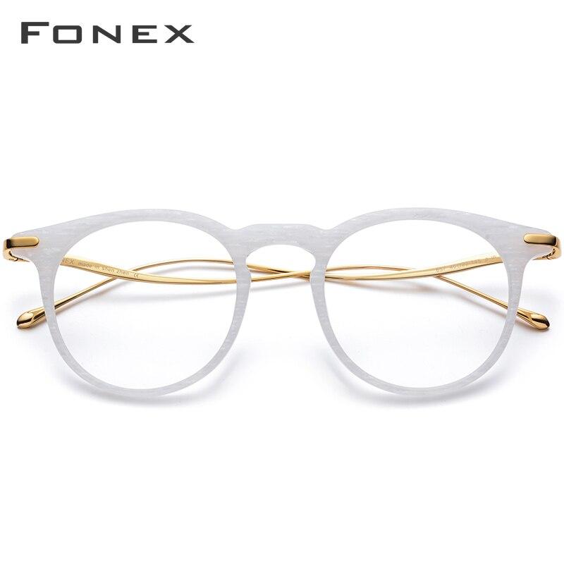 FONEX titane acétate optique lunettes de Prescription hommes Vintage rétro rond lunettes cadre femmes myopie lunettes lunettes 857