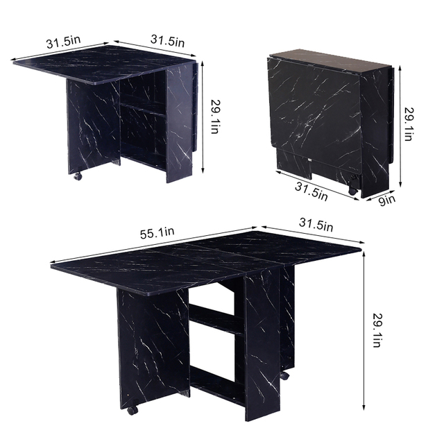3 in 1 Rolling Dining Table Set Black/White Marble Folding Wooden Dining Table Movable Office Table Kitchen Storage 5