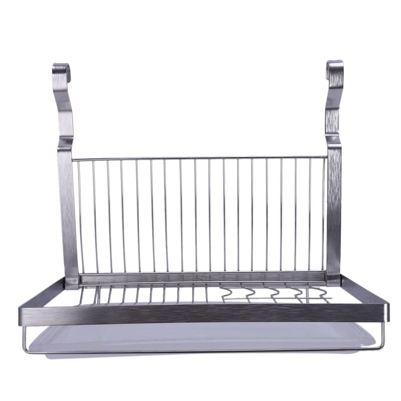 ABUI-Stainless Steel Folding Hanging Dish Rack Draining Bowl Rack Plates Organizer Tableware Kitchen Storage Kitchen Organizer S