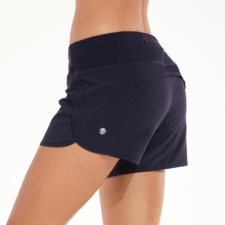 Pantalones cortos deportivos de entrenamiento de La Isla para mujer con bolsillo con cremallera-4 pulgadas