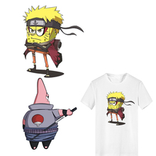 Iron on Transfer Anime SpongeBob Naruto Patches for Clothing Applique Heat Vinyl Ironing Stickers Stripes Clothes