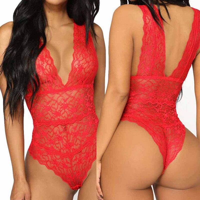 Sale Women Babydoll Sexy One Piece Pajamas Lingerie Hollow Lace Bodysuit Nightwear