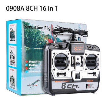 0904A/0908A 6/8CH 16 in 1 RC Flight Simulator Remote Control for Helicopter FPV Quadcopter Drone Support G7 Phoenix 5 XTR W/CD fms flight simulator remote 6ch rc simulator 3d for rc helicopter airplane