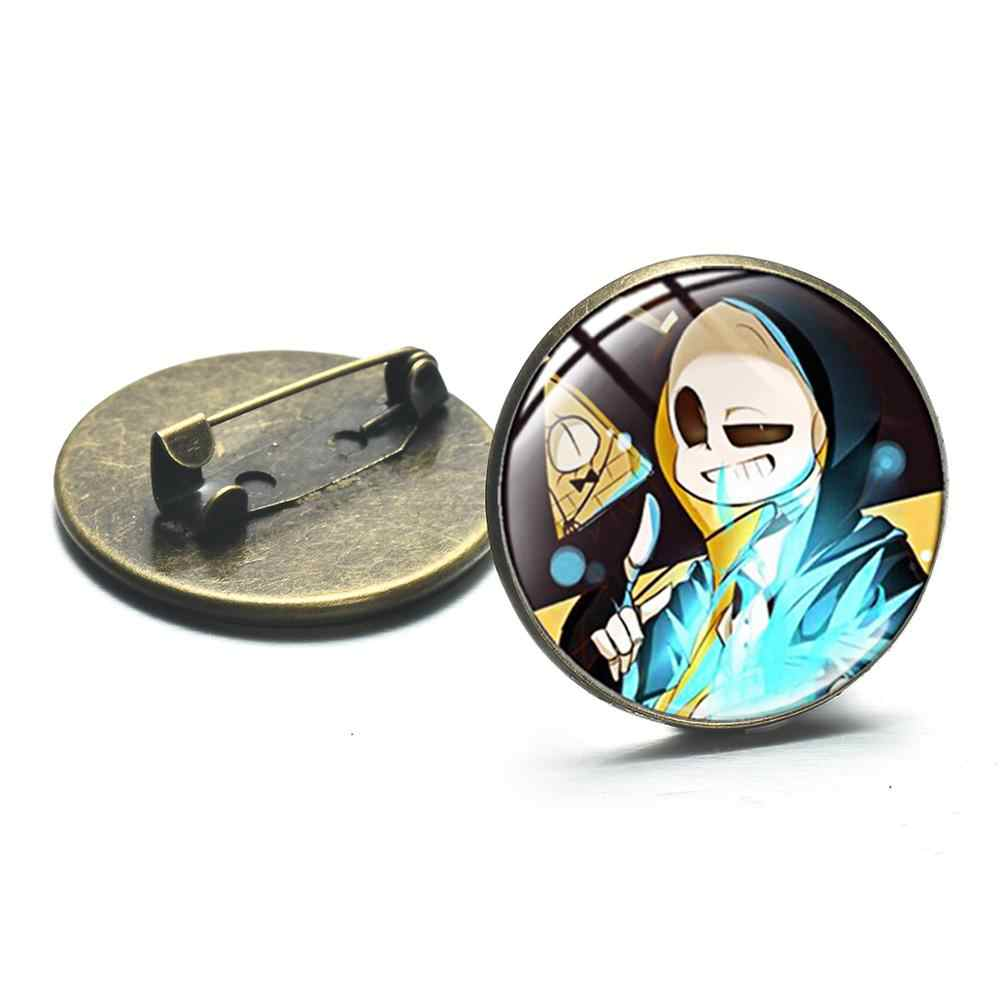 SIAN Grappige Undertale Serie Broches Sans Cartoon Foto Glas Cabochon Metalen Broche Kinderen Gamer Kleding Hoed Pin Collection