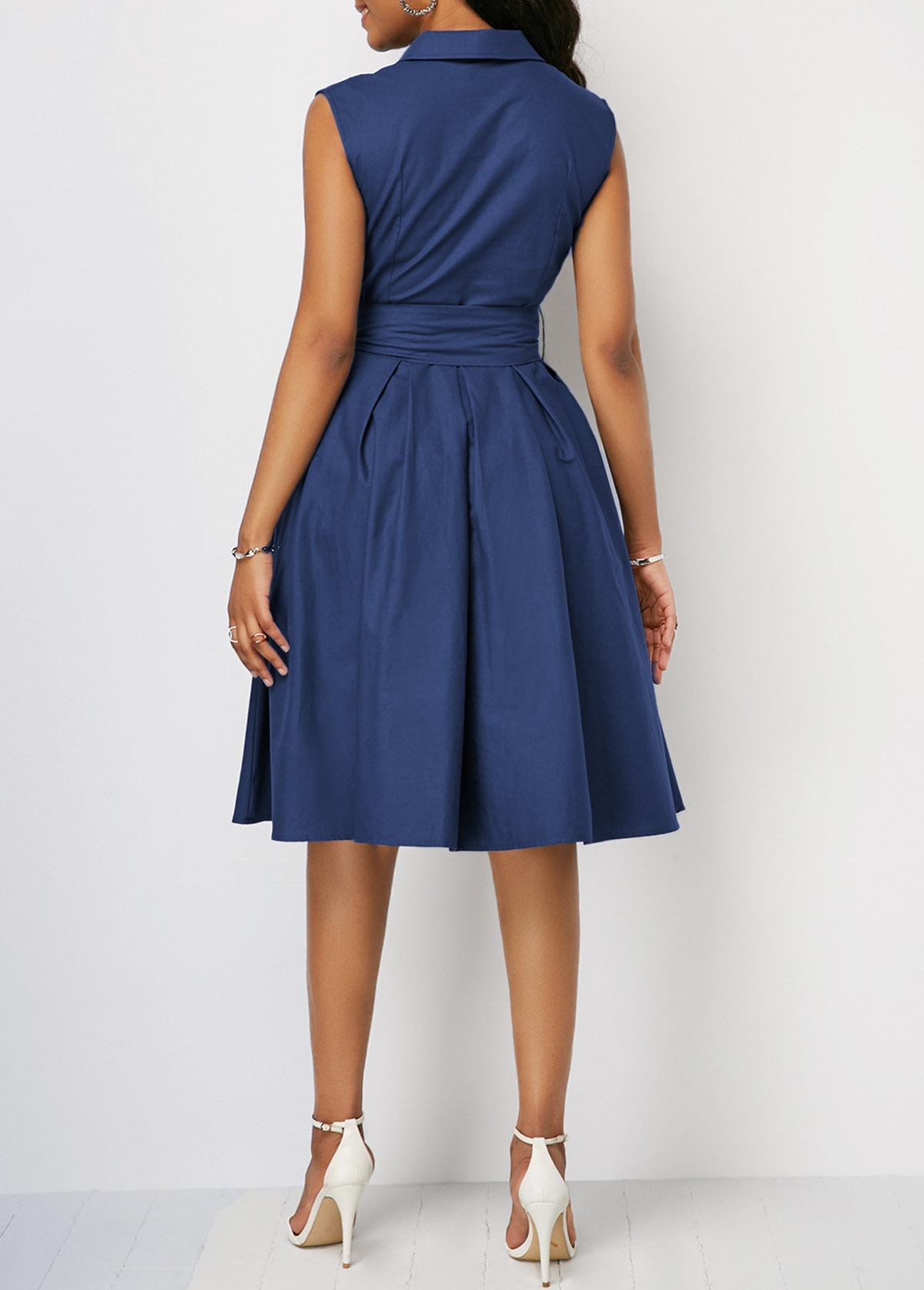 New European And American Explosion Models Solid Color Waist Sleeveless Lapel Lace-up A-line Commuter Dress Mid-length