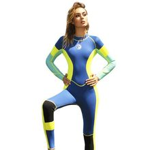 3mm Neoprene Swimsuit Splicing HISEA Surfing Long-Sleeved One-Piece Woman Classic Bright-Color
