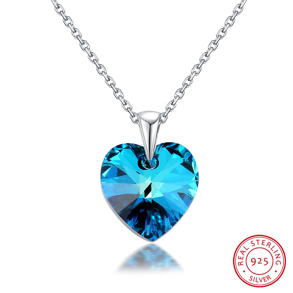 Heart Pendant Necklace Collares Swarovski Crystals Silver Original Women Classic  title=