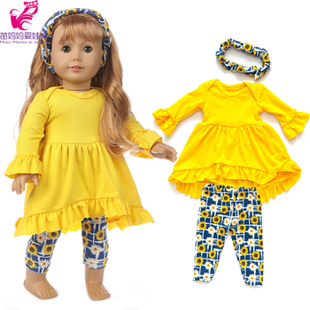 43cm Baby new born Doll yellow Dress with hair band 18 Inch American generation girl clothes