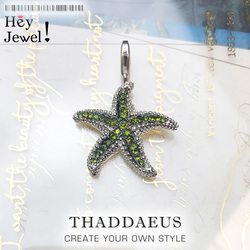 Pendant Green Starfish ,2017 Brand Fashion Trendy 925 Sterling Silver Europe Bijoux Fashion Accessories Gift For Woman Men