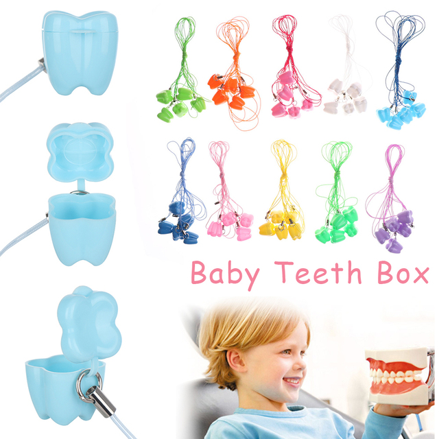 10 colors Baby Teeth Milk Teeth Box Childrens Tooth Case Denture Accessories Dental Clinic Gift Babys Growth souvenir 10PCS