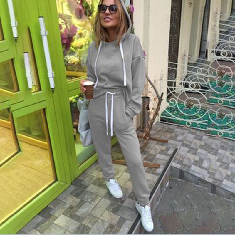 Two Piece Set Fashion Casual Suits Tracksuit Women Autumn Hooded Pullover Fleece & Loose Pants Two-piece Set Hoodies Trousers