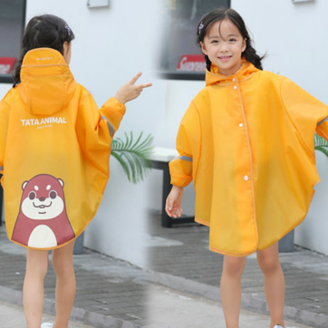 Cartoon Yellow Clear Raincoat Kids Rain Poncho Rain Coats Children Long Waterproof Suit Plastic Suit Capa De Chuva Rain Gear 4