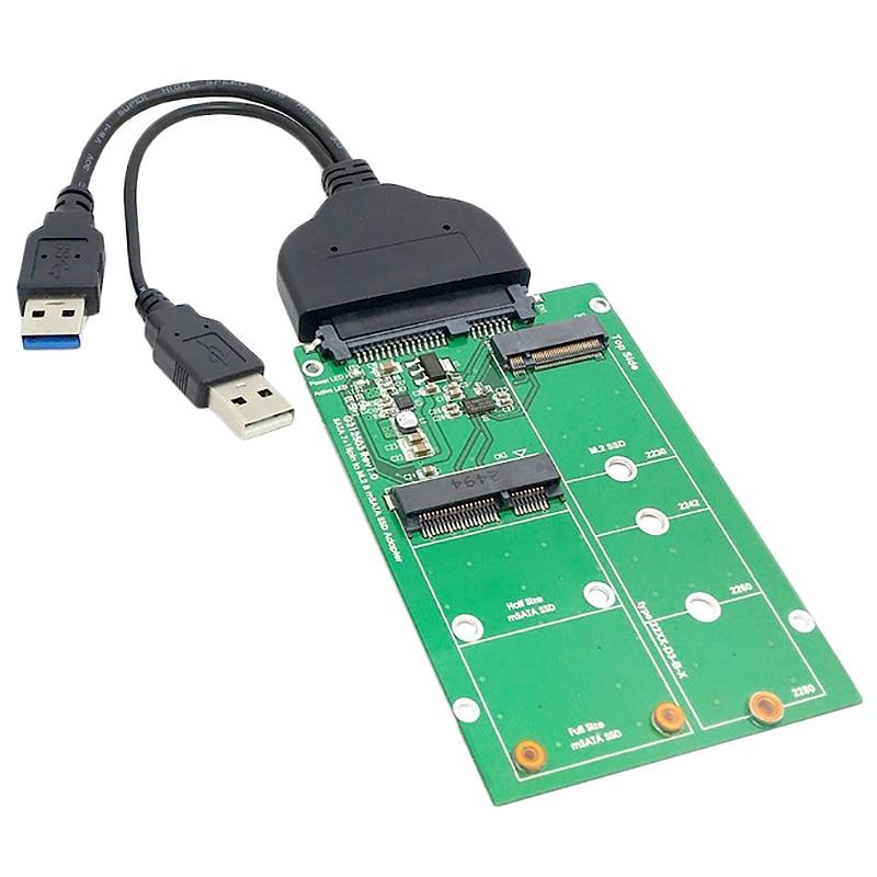 Usb 3.0 To Sata 22Pin 2.5 Inch Hard Disk To 2 In 1 Combo Mini Pci- E 2 Lane M.2 Ngff & Msata Ssd Adapter Converter