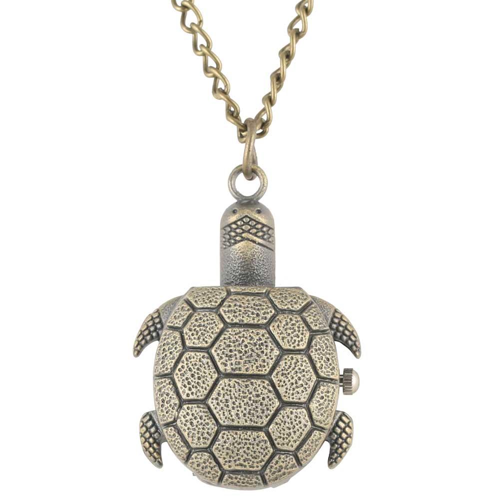 Exquisite Tortoise Shape Pocket Watch Bronze Alloy Case Pocket Watches Classic Full Hunter Pendant Watch For Men