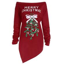 SAGACE Women Xmas Print Letter Dress Ladies Christmas Tree Long Sleeve Party Dresses Straight Cotton Princess Dress hotAugust 15(China)