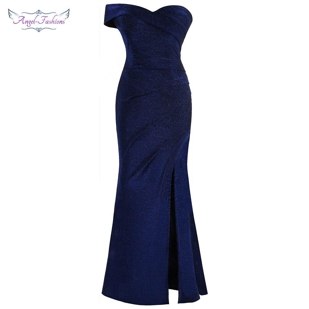 Angel-fashions Womens Off Shoulder Evening Dresses Slit