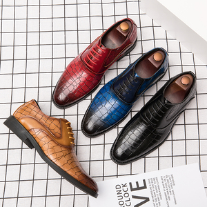 Image 4 - 男性ドレスシューズ紳士ビジネスパティ革の結婚式の靴メンズフラットレザーオックスフォード正式な靴