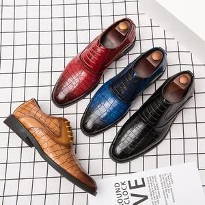 Image 4 - Męskie buty sukienka Gentleman Business Paty skórzane buty ślubne płaskie buty męskie skórzane oksfordzie formalne buty