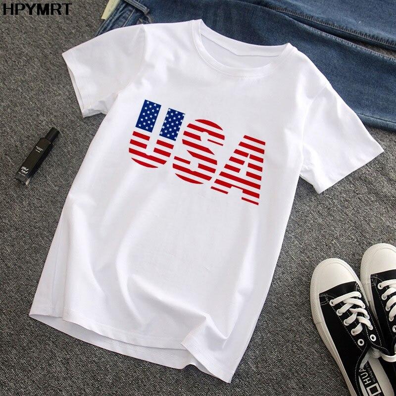 Novo verão moda feminina camiseta eua bandeira imprimir o pescoço manga curta topos tshirt feminino harajuku branco t camisa para roupas femininas