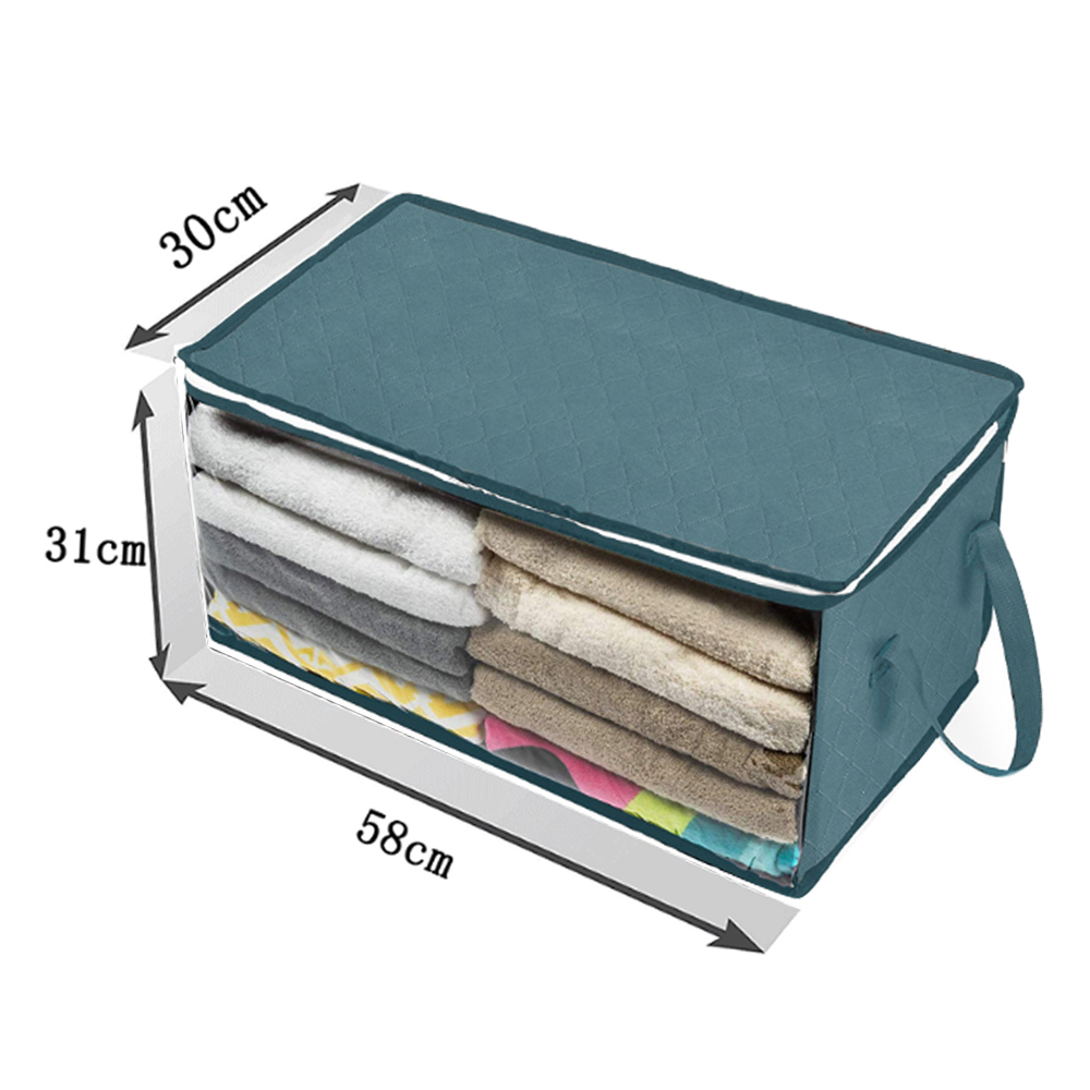 Складной тканевый ящик для хранения грязной одежды, чехол на молнии для игрушек, стеганая коробка для хранения, прозрачный влагостойкий Органайзер - Цвет: G252555B